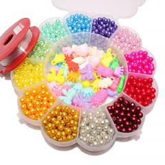 Kit de miçangas e pingentes infantis variados para pulseiras e colares