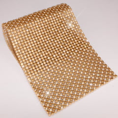 Manta Dourada com Strass Intercalado - 10 x 22 cm